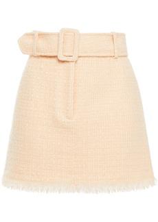 Alexander Wang Woman Belted Metallic Wool-blend Tweed Mini Skirt Peach