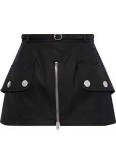 Alexander Wang Woman Belted Zip-detailed Cotton-twill Mini Skirt Black