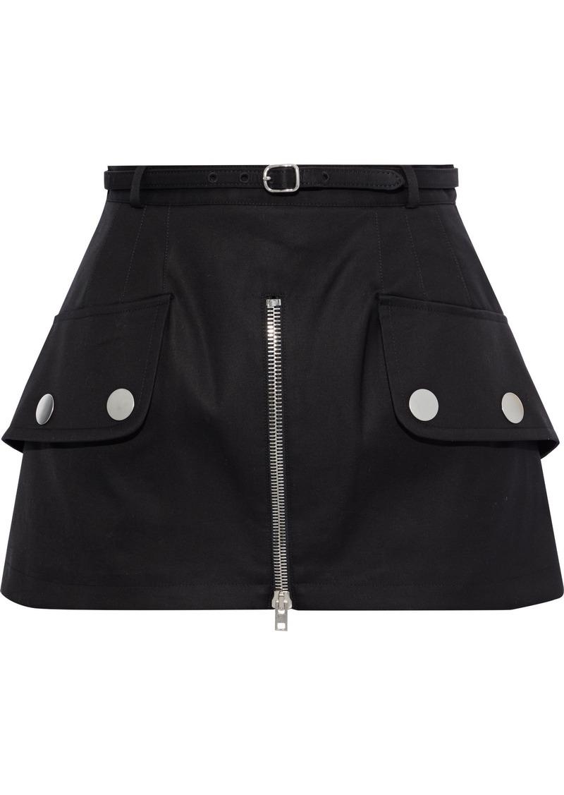 Alexander Wang Woman Belted Zip-detailed Cotton-twill Mini Skirt Black