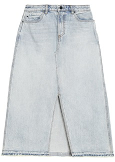 Alexander Wang Woman Bleached Denim Midi Skirt Light Denim