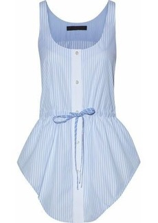 Alexander Wang Woman Bow-detailed Striped Cotton-poplin Top Light Blue