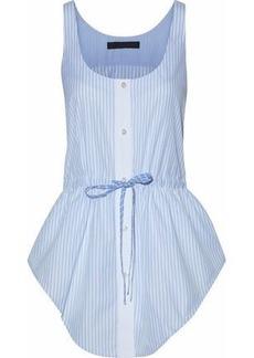 Alexander Wang Woman Bow-detailed Striped Cotton-poplin Top Light Blue