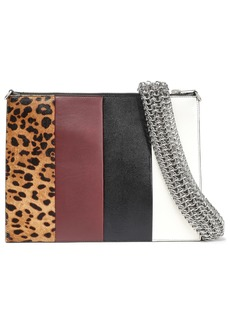 Alexander Wang Woman Calf Hair-paneled Color-block Leather Clutch Multicolor