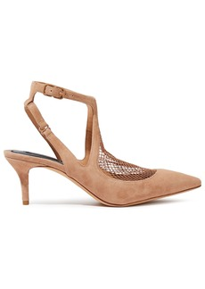 Alexander Wang Woman Cecile Mesh-paneled Suede Pumps Sand