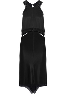 Alexander Wang Woman Chain-trimmed Cutout Silk-satin Dress Black