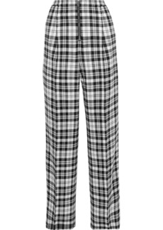 Alexander Wang Woman Checked Wool Wide-leg Pants Black