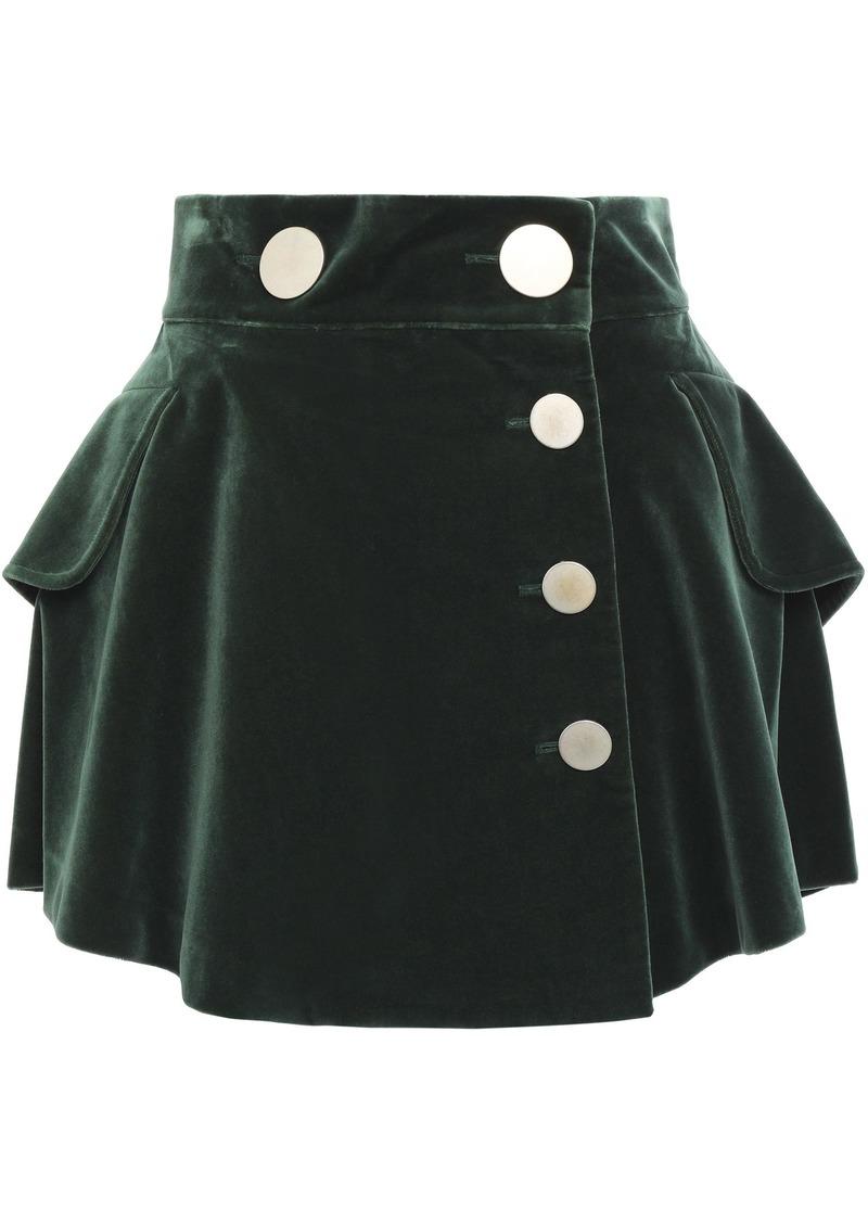 Alexander Wang Woman Ruffled Snap-detailed Cotton-velvet Mini Skirt Forest Green