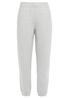 Alexander Wang Woman Cropped Appliquéd Cotton-blend Fleece Track Pants Light Gray