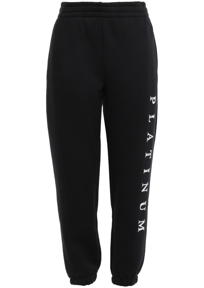 Alexander Wang Woman Cropped Appliquéd Cotton-blend Fleece Track Pants Black