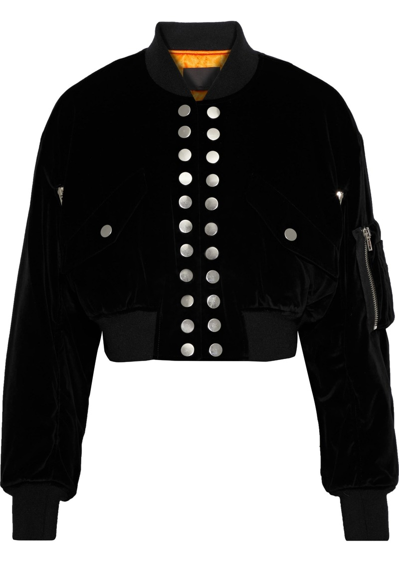Alexander Wang Woman Studded Cropped Velvet Bomber Jacket Black