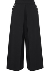 Alexander Wang Woman Cropped Button-embellished Twill Wide-leg Pants Black