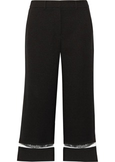 Alexander Wang Woman Cropped Cutout Pvc-trimmed Crepe Wide-leg Pants Black