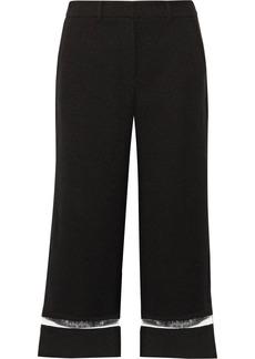 Alexander Wang Woman Cropped Cutout Pvc-trimmed Crepe Wide-leg Pants Black