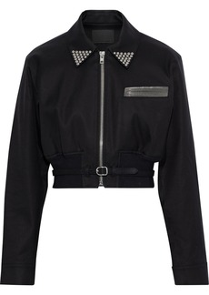 Alexander Wang Woman Cropped Embellished Cotton-twill Jacket Black