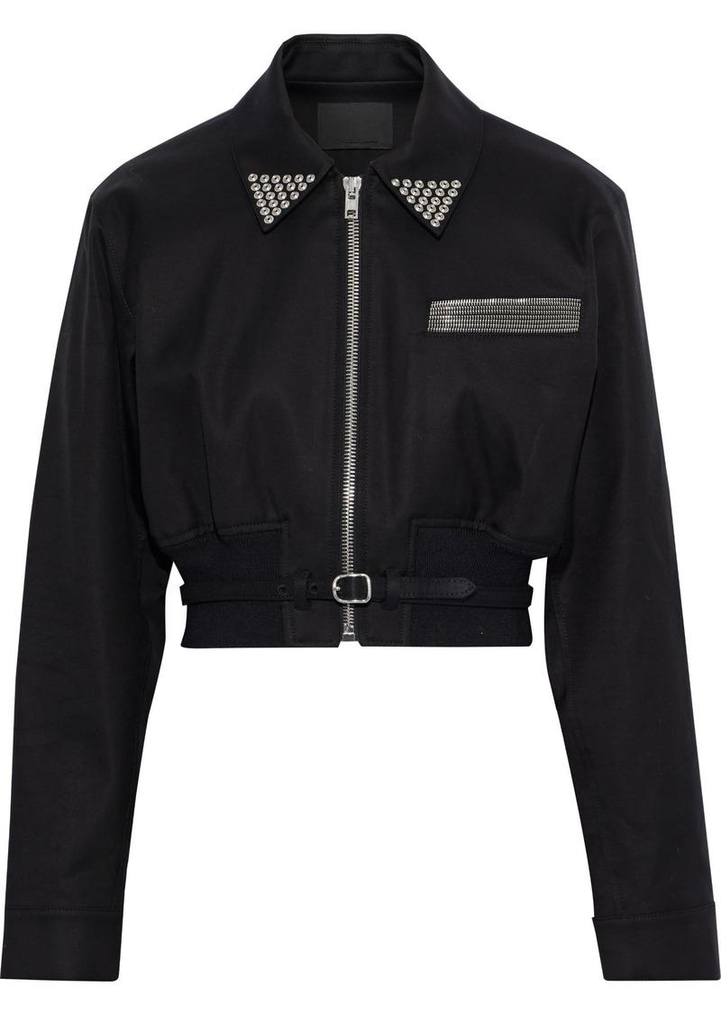 Alexander Wang Woman Cropped Embellished Cotton-twill Jacket Black