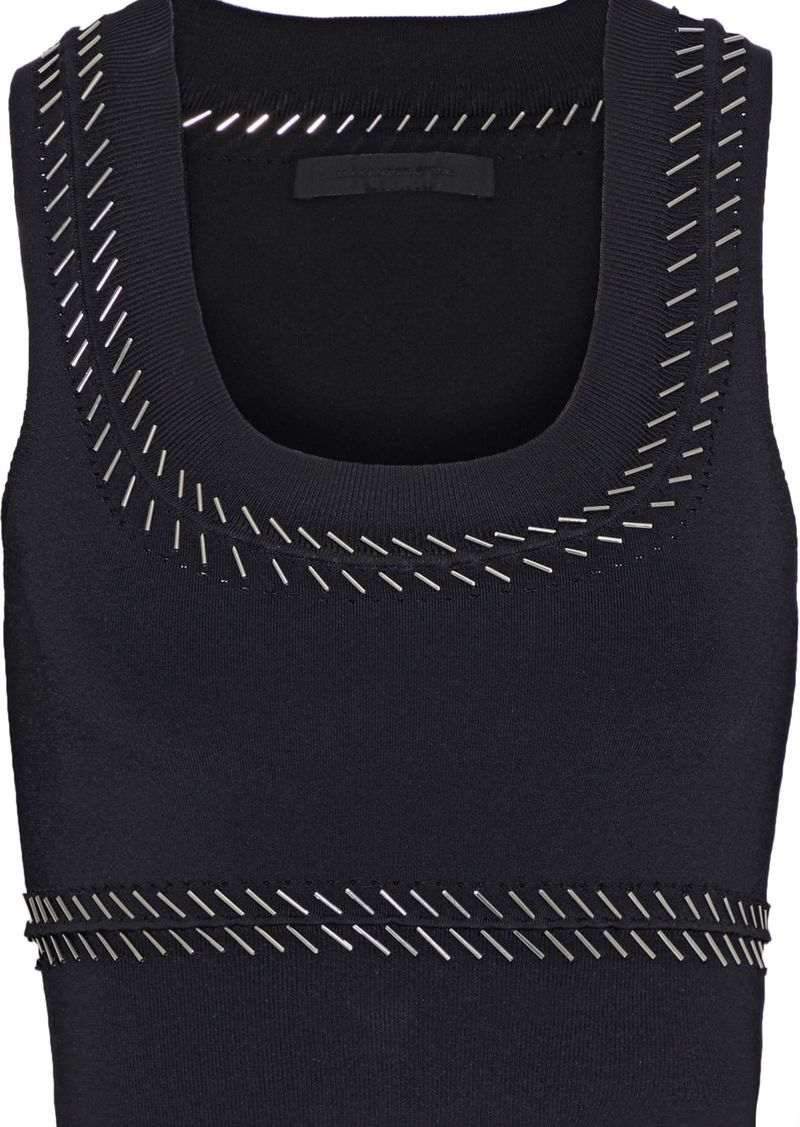 Alexander Wang Woman Cropped Embellished Stretch-knit Top Black