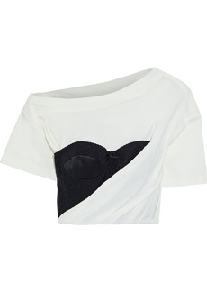 Alexander Wang Woman Cropped Embroidered Tulle-paneled Draped Cotton-blend Jersey T-shirt Off-white