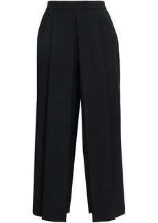 Alexander Wang Woman Cropped Pleated Twill Wide-leg Pants Black