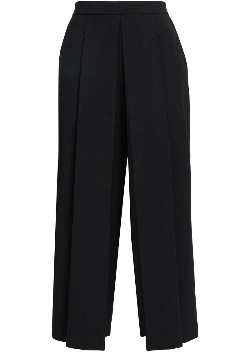 Alexander Wang Woman Cropped Pleated Twill Wide-leg Pants Black