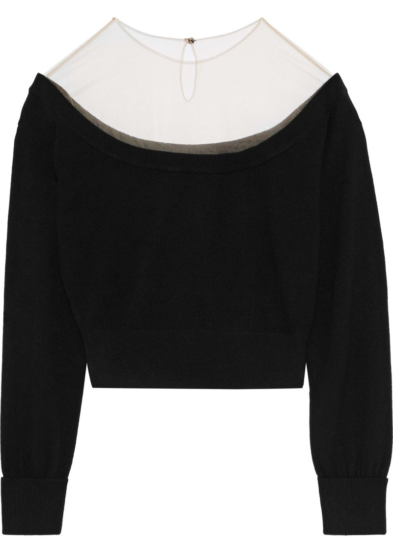 Alexander Wang Woman Cropped Tulle-paneled Knitted Sweater Black