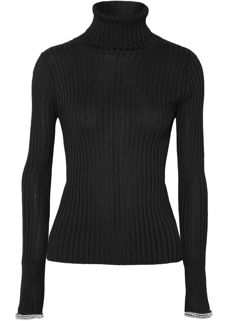 Alexander Wang Woman Crystal-embellished Ribbed-knit Turtleneck Sweater Black