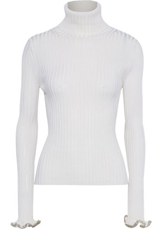 Alexander Wang Woman Crystal-embellished Ribbed-knit Turtleneck Sweater Ivory