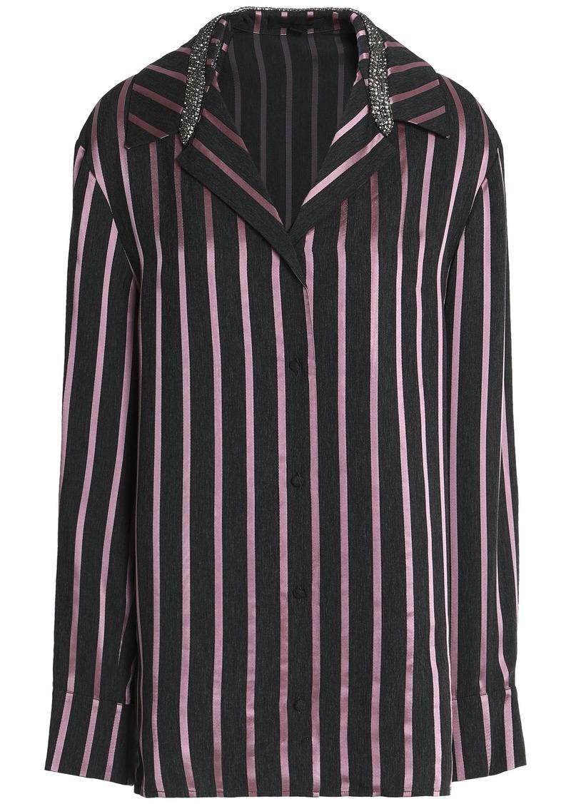 Alexander Wang Woman Crystal-embellished Striped Satin-trimmed Chambray Shirt Dark Purple