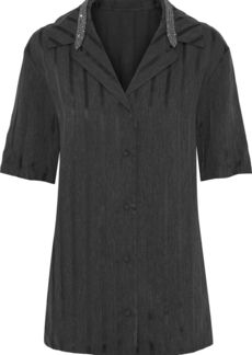 Alexander Wang Woman Crystal-embellished Striped Twill Top Charcoal