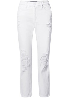 Alexander Wang Woman Cult Distressed High-rise Straight-leg Jeans White