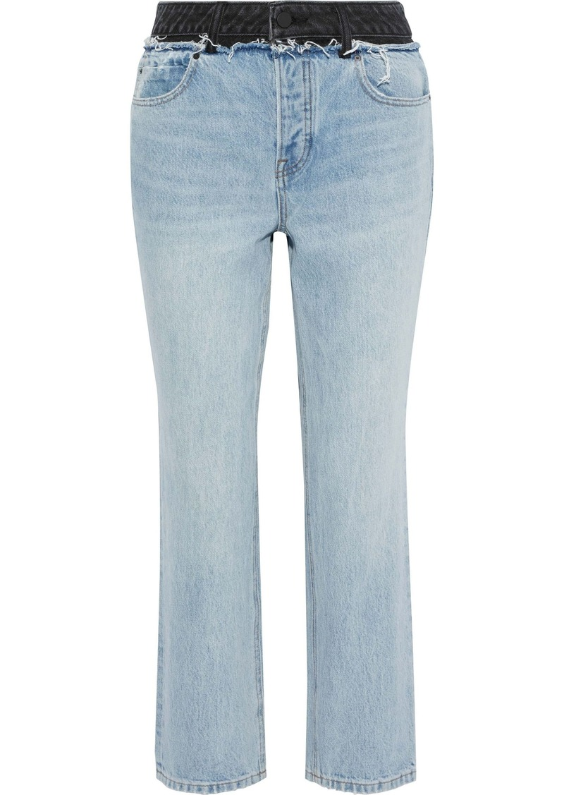 Alexander Wang Woman Cult Duo Distressed Two-tone High-rise Straight-leg Jeans Light Denim