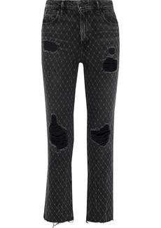 Alexander Wang Woman Cult Net Distressed Printed High-rise Straight-leg Jeans Black