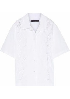 Alexander Wang Woman Cutout Embroidered Cotton-poplin Shirt White