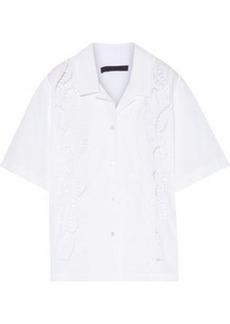 Alexander Wang Woman Cutout Embroidered Cotton-poplin Shirt White