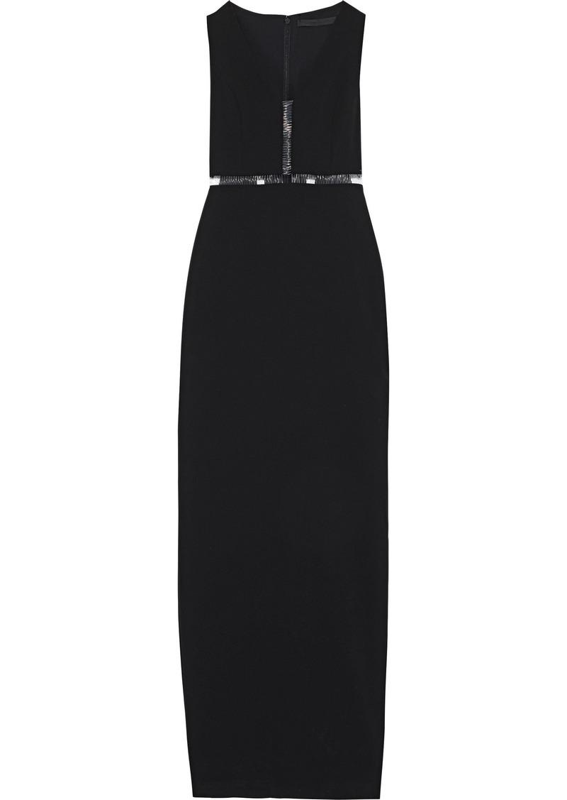 Alexander Wang Woman Cutout Pvc-trimmed Stretch-cady Gown Black