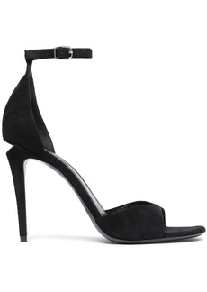 Alexander Wang Woman Cutout Silver Tone-trimmed Suede Sandals Black