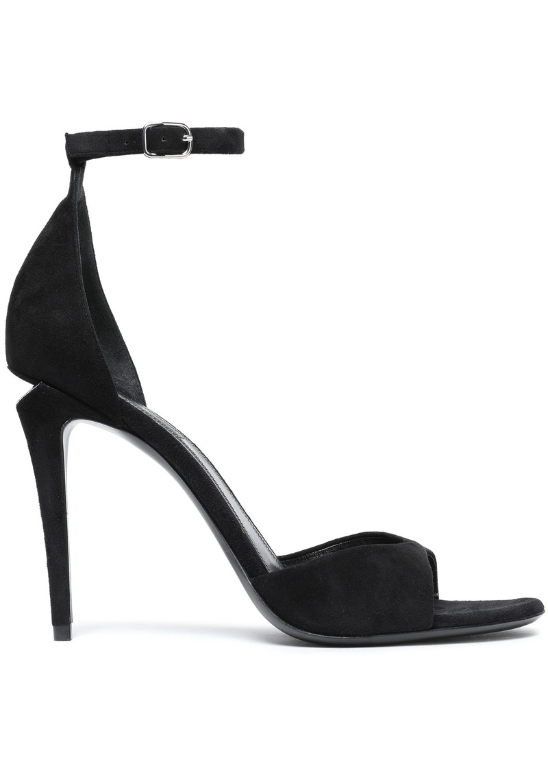 Alexander Wang Woman Cutout Silver Tone-trimmed Suede Sandals Black