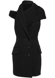 Alexander Wang Woman Cutout Wool-twill And Jersey Mini Dress Black