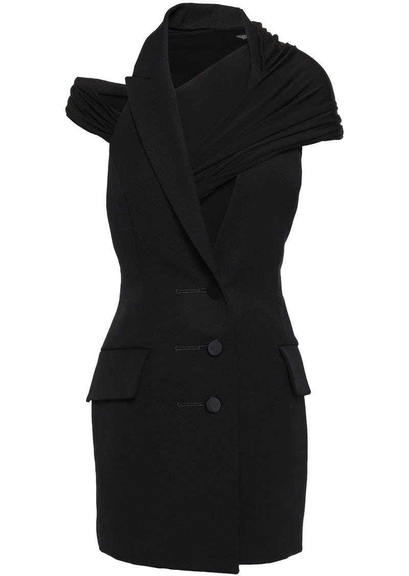 Alexander Wang Woman Cutout Wool-twill And Jersey Mini Dress Black