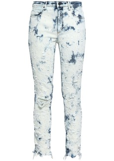 Alexander Wang Woman Distressed Bleached Mid-rise Skinny Jeans Light Denim
