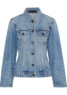 Alexander Wang Woman Distressed Denim Jacket Mid Denim