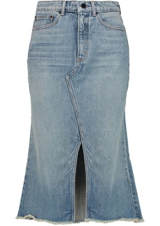 Alexander Wang Woman Distressed Denim Midi Skirt Mid Denim