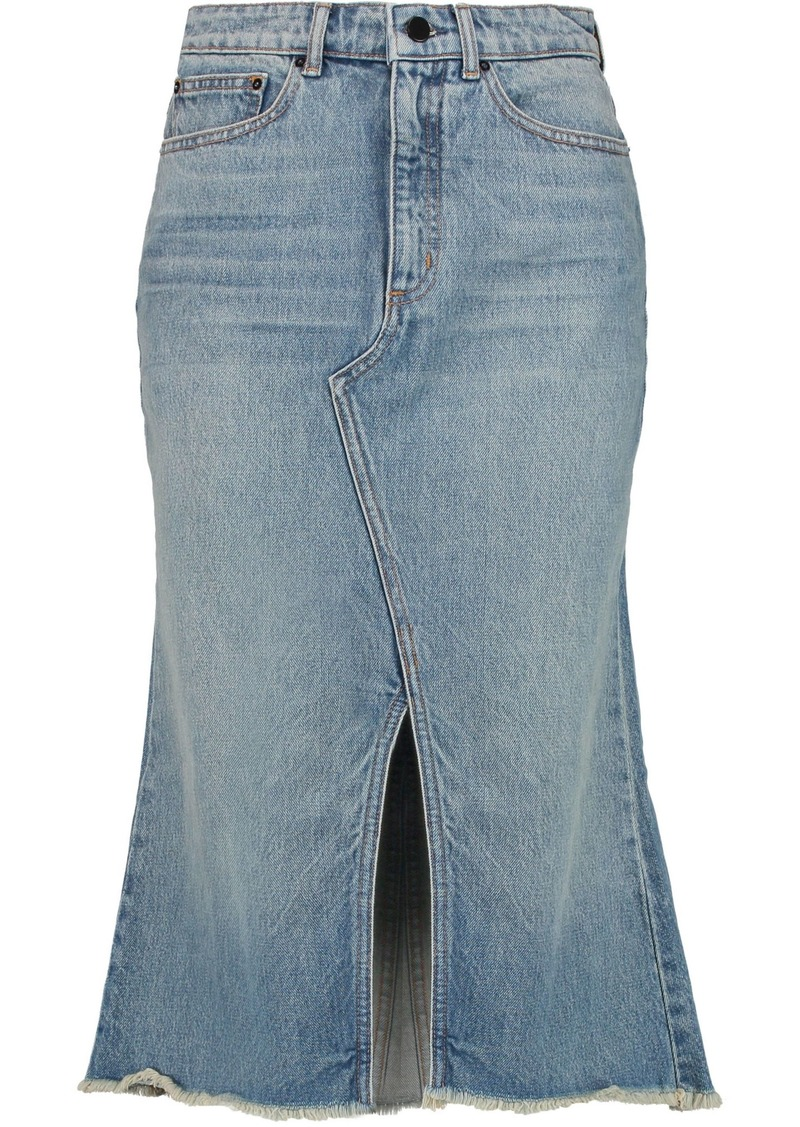 Alexander Wang Woman Distressed Denim Midi Skirt Mid Denim