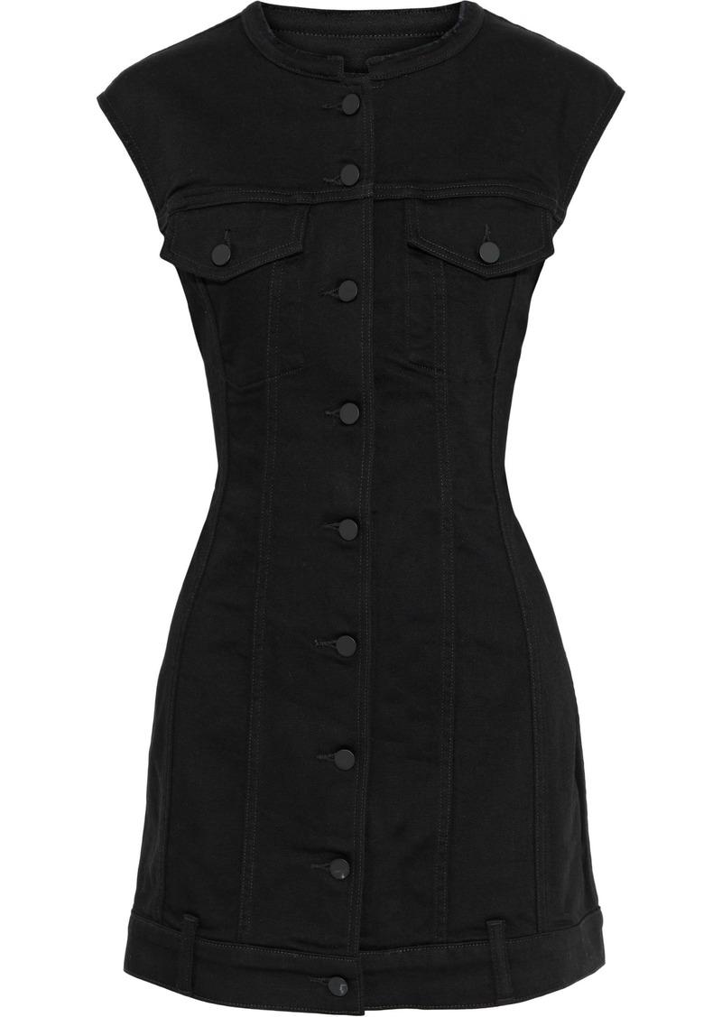 Alexander Wang Woman Distressed Denim Mini Dress Black
