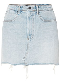 Alexander Wang Woman Distressed Denim Mini Skirt Light Denim