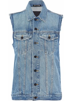 Alexander Wang Woman Distressed Denim Vest Mid Denim