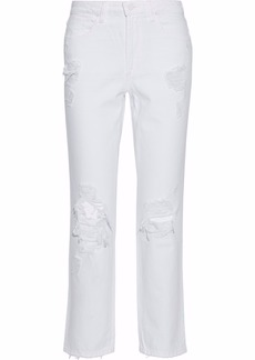 Alexander Wang Woman Distressed High-rise Straight-leg Jeans White