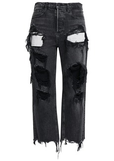Alexander Wang Woman Distressed Mid-rise Straight-leg Jeans Charcoal