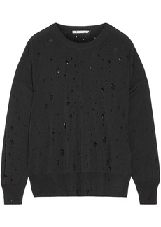 Alexander Wang Woman Distressed Stretch-knit Sweater Black