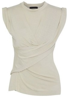 Alexander Wang Woman Draped Gathered Jersey Top Beige