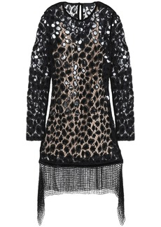 Alexander Wang Woman Embellished Cotton-blend Lace Mini Dress Black